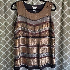 Esley Tops - NWT Esley Sequins Metallic Striped Top Sz M
